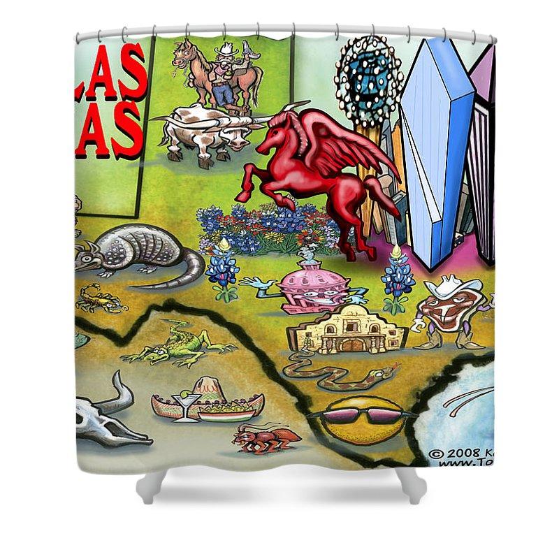 Dallas Shower Curtain featuring the digital art Dallas Texas Cartoon Map by Kevin Middleton