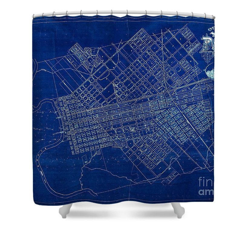 Dallas texas official 1875 city map blueprint butterfield and peter gumaer ogden collection shower curtain featuring the drawing dallas texas official 1875 city map blueprint malvernweather Choice Image