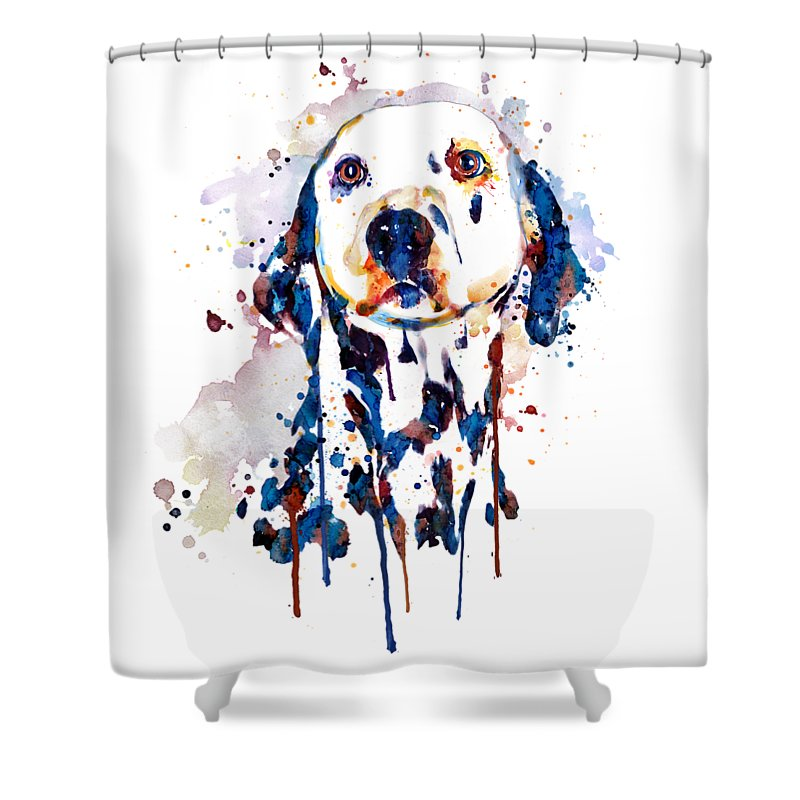 Dalmatian Shower Curtain Featuring The Painting Head By Marian Voicu
