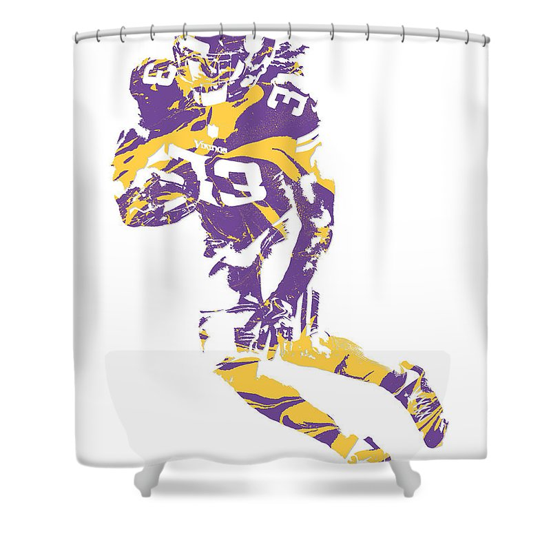 Dalvin Cook Shower Curtain Featuring The Mixed Media Minnesota Vikings Pixel Art 1 By