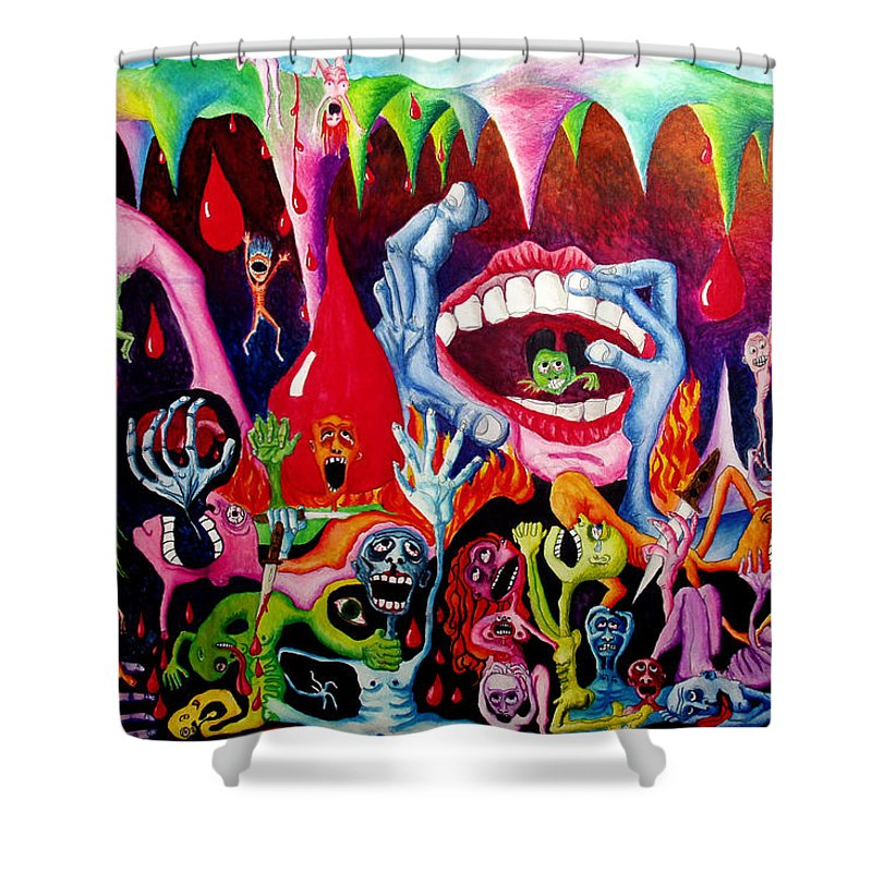 Hell Shower Curtain featuring the painting Damnation Of The Evil by Nancy Mueller