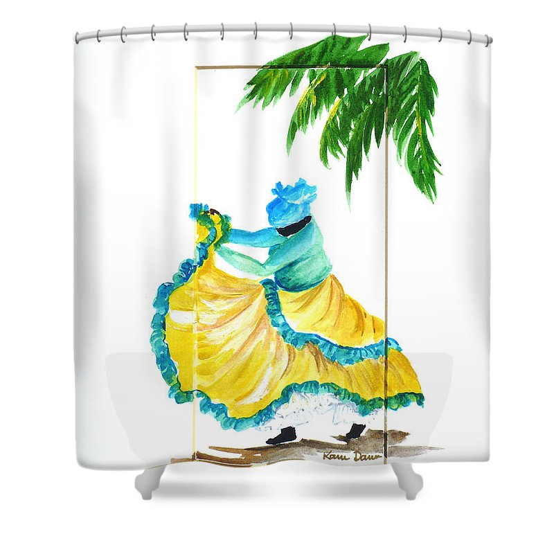 Dance Folk Caribbean Tropical Shower Curtain featuring the painting Dance De Belaire by Karin Dawn Kelshall- Best