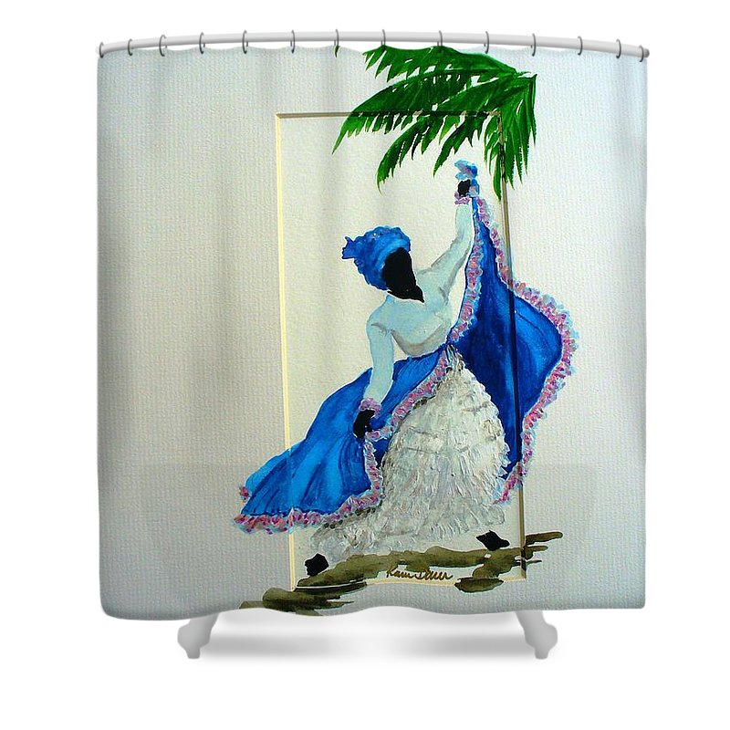 Folk Dance Caribbean Tropical Shower Curtain featuring the painting Dance De Pique by Karin Dawn Kelshall- Best