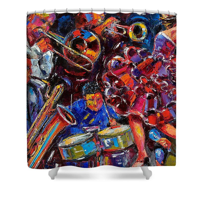 Jazz Shower Curtain featuring the painting Dance Latino by Debra Hurd