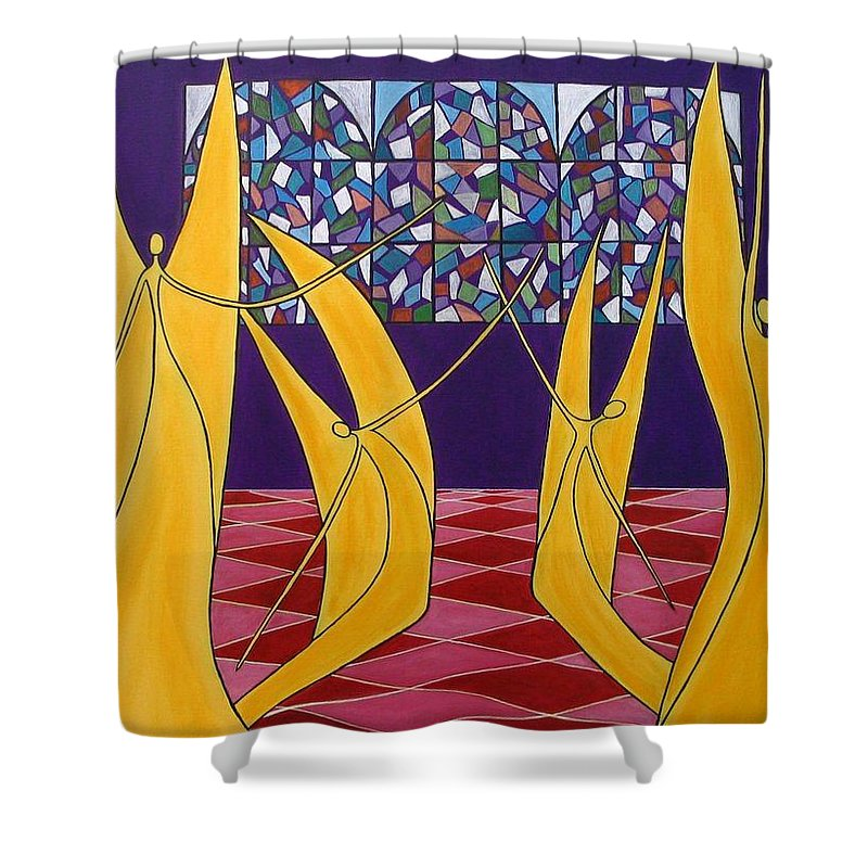 Dance Of Angels Shower Curtain featuring the painting Dance Of Angels by Sandra Marie Adams