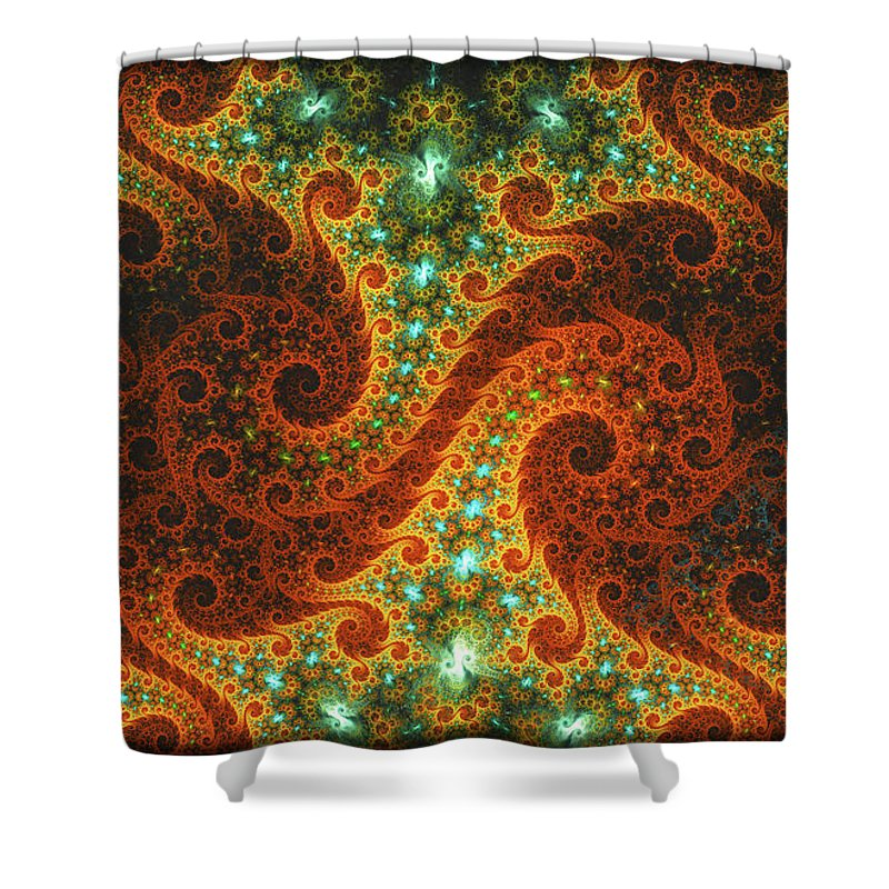 Fractal Shower Curtain featuring the digital art Dance Of Flames by Lorant Zsolt