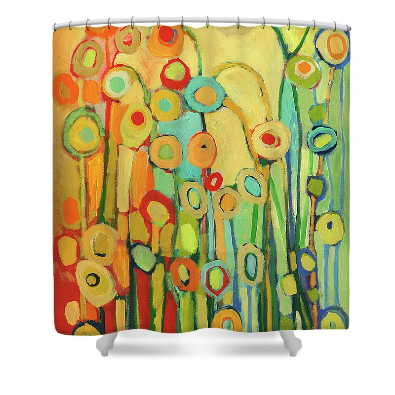 Floral Shower Curtain featuring the painting Dance of the Flower Pods by Jennifer Lommers