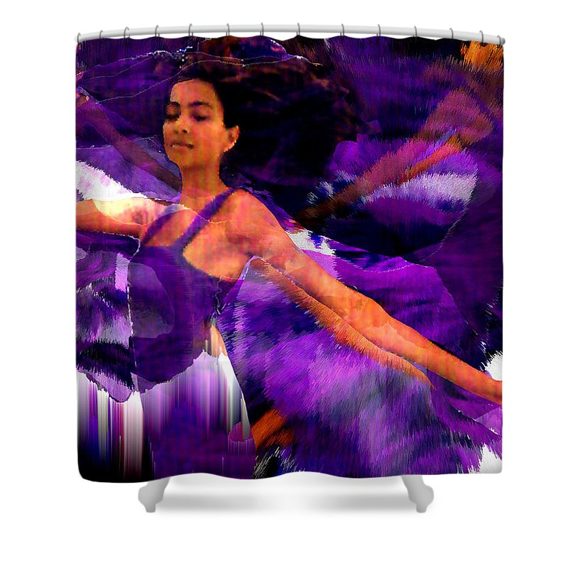Mystical Shower Curtain featuring the digital art Dance Of The Purple Veil by Seth Weaver