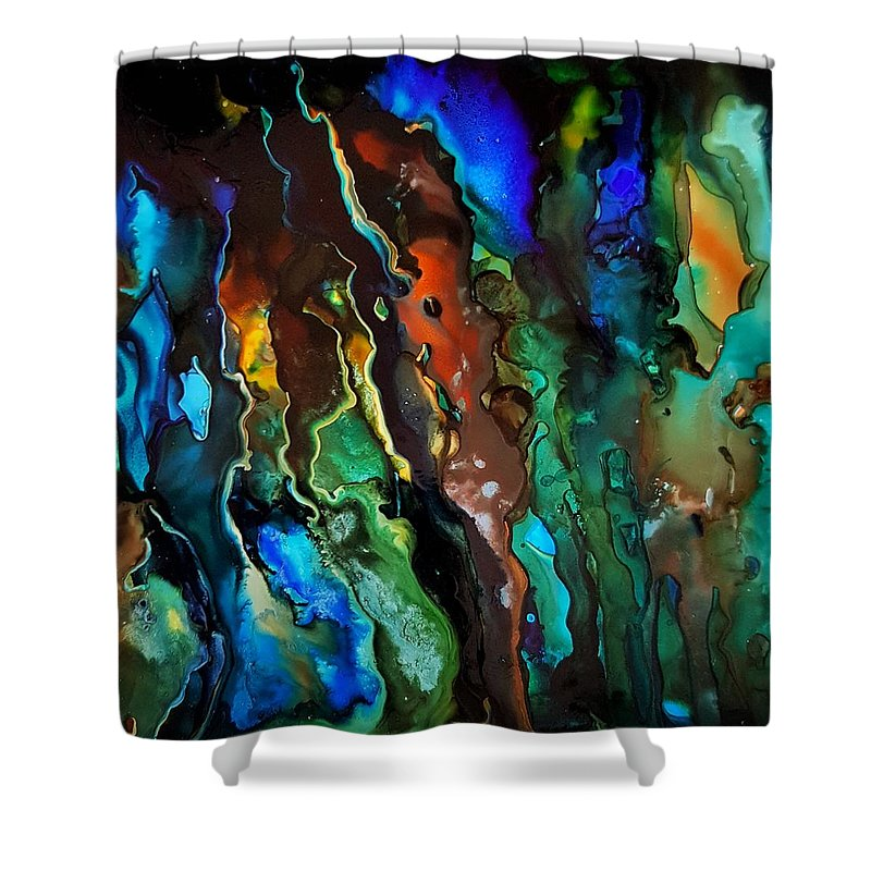 Shower Curtain featuring the painting Dance Of The Seahorse by Miriam Melans