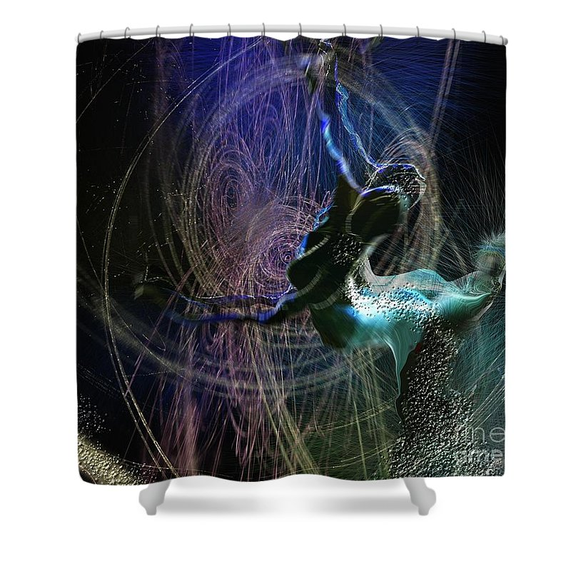Nature Painting Shower Curtain featuring the painting Dance Of The Universe by Miki De Goodaboom