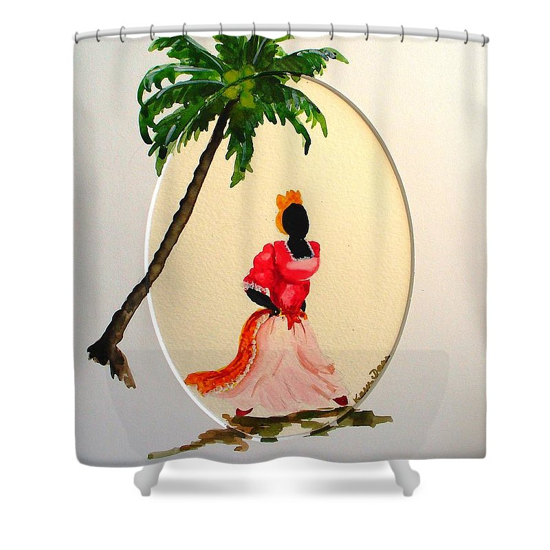 Caribbean Dancer Shower Curtain featuring the painting Dancer 1 by Karin Dawn Kelshall- Best