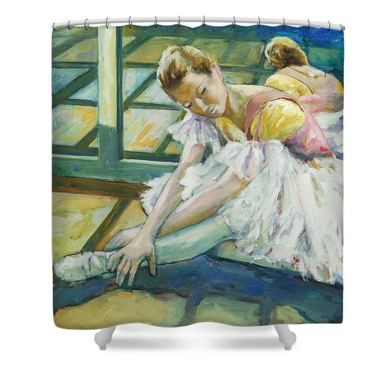 Glass Shower Curtain featuring the painting Dancer by Rick Nederlof