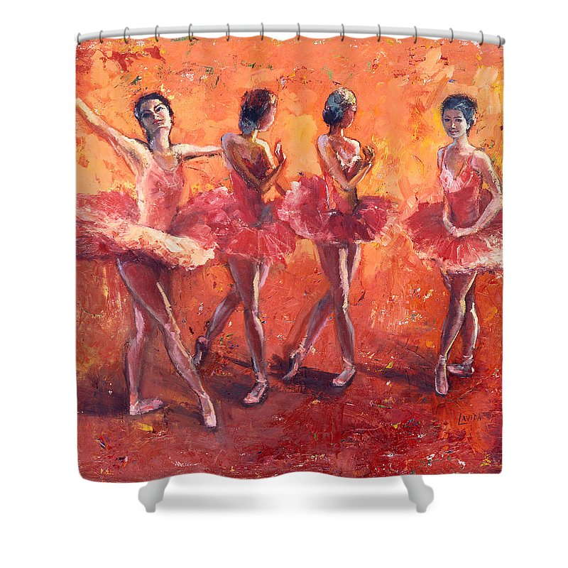 Ballerina's Shower Curtain featuring the painting Dancers In The Flame by Janet Lavida