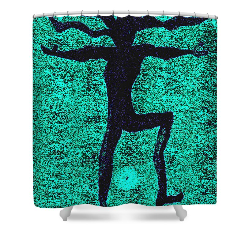 Dance Shower Curtain featuring the painting Dancing At The Creation Of The Green Earth by Wayne Potrafka