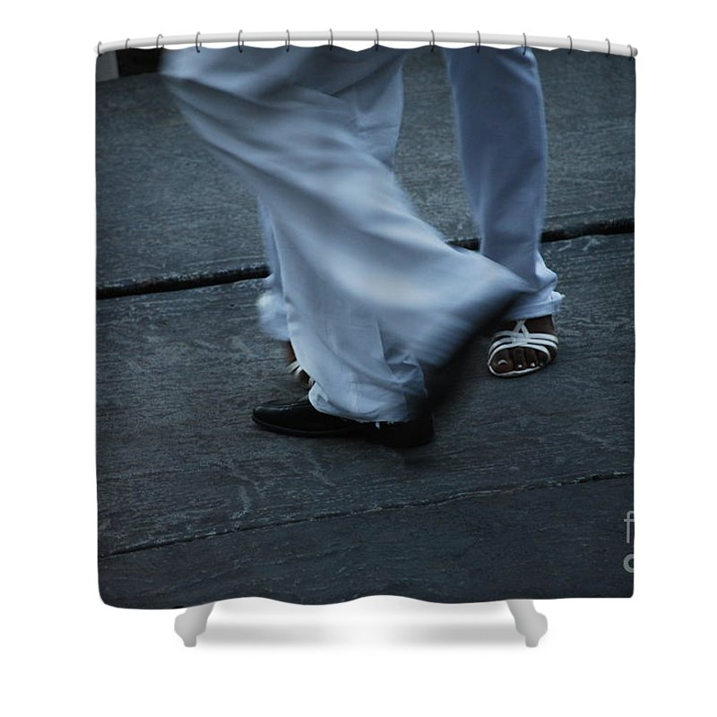 Dancing Shower Curtain featuring the photograph Dancing Feet At The Dominican Republic Son Party Number Three by Heather Kirk