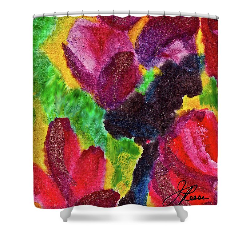 Floral Shower Curtain featuring the painting Dancing Flowers by Joan Reese