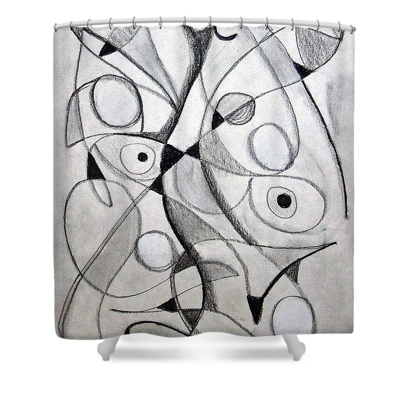 Pencil Shower Curtain featuring the drawing Dancing For Joy by J R Seymour