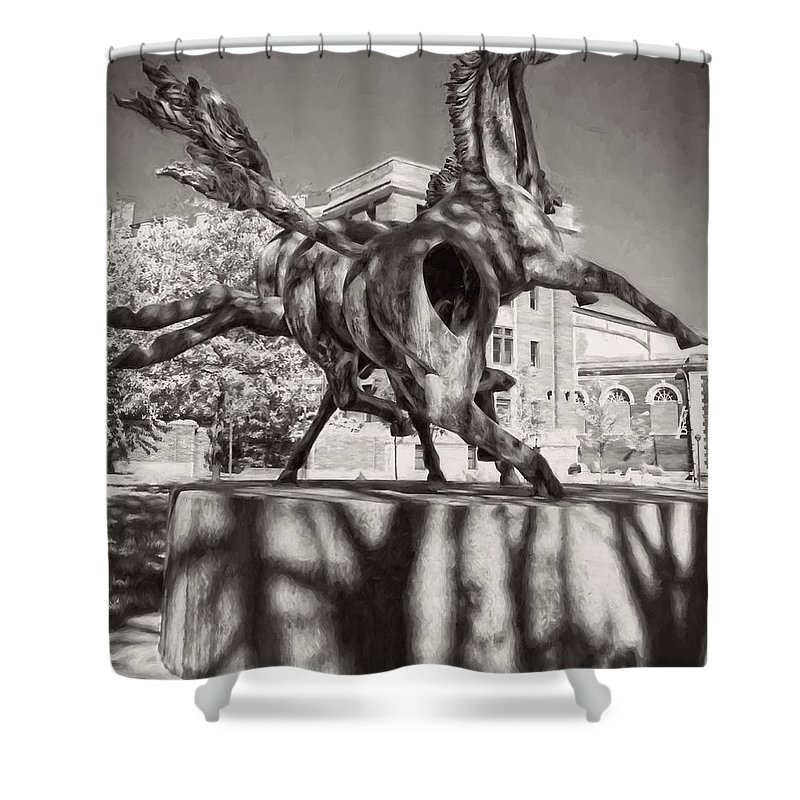 Alicegipsonphotographs Shower Curtain featuring the photograph Dancing Horses Noir by Alice Gipson