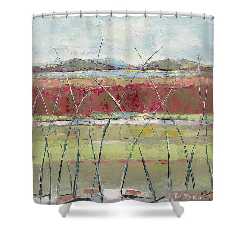 Landscape Shower Curtain featuring the painting Dancing In The Field by Becky Kim
