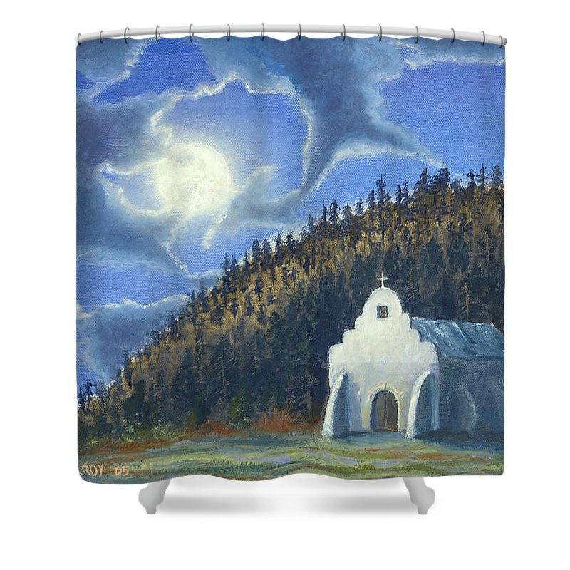 Landscape Shower Curtain featuring the painting Dancing In The Moonlight by Jerry McElroy