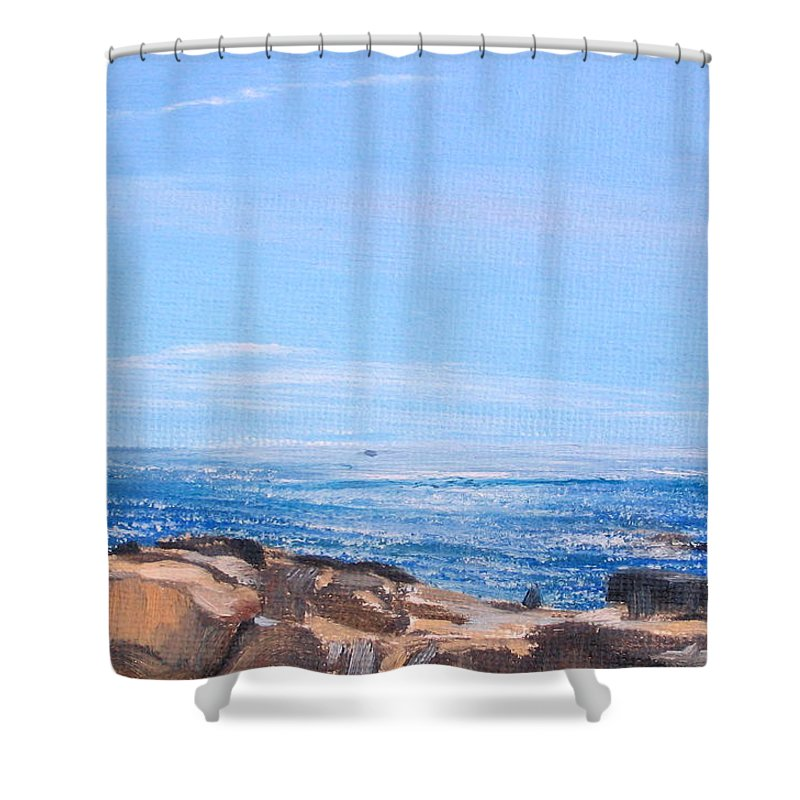 Seascape Shower Curtain featuring the painting Dancing Light by Lea Novak