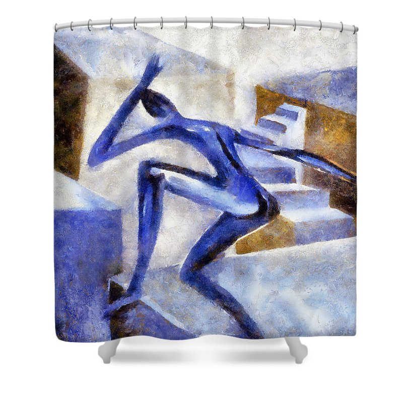 Conceptual Shower Curtain featuring the painting Dancing Off The Edge Of The World by Michelle Calkins
