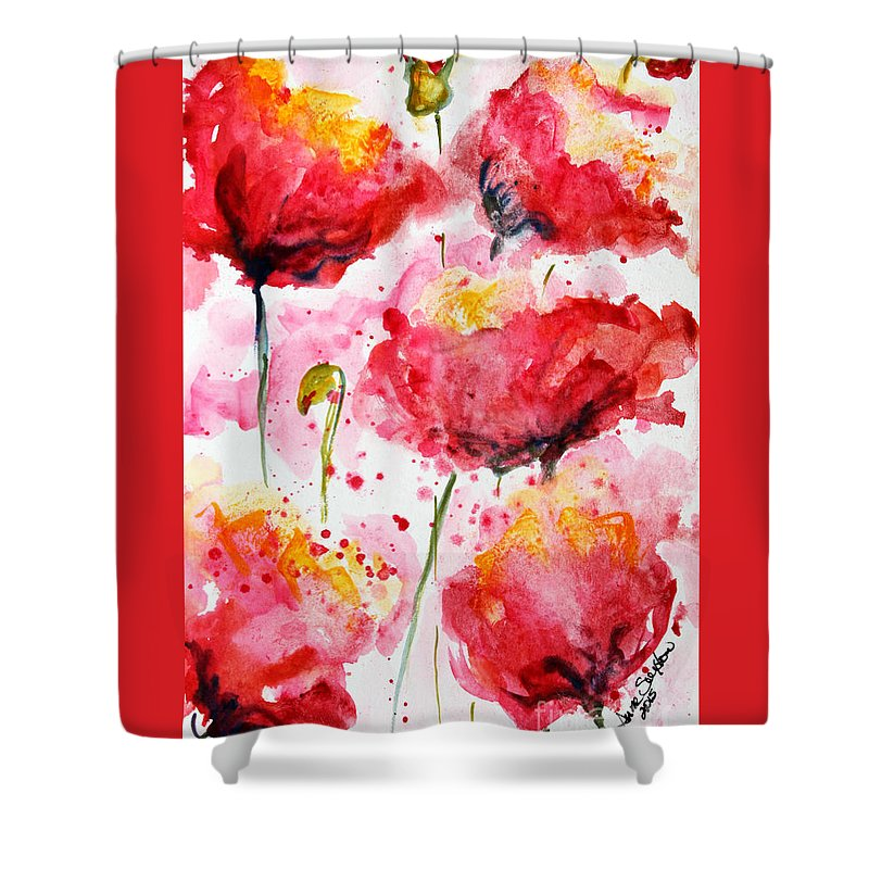 Poppies Shower Curtain featuring the painting Dancing Poppies Galore Watercolor by CheyAnne Sexton