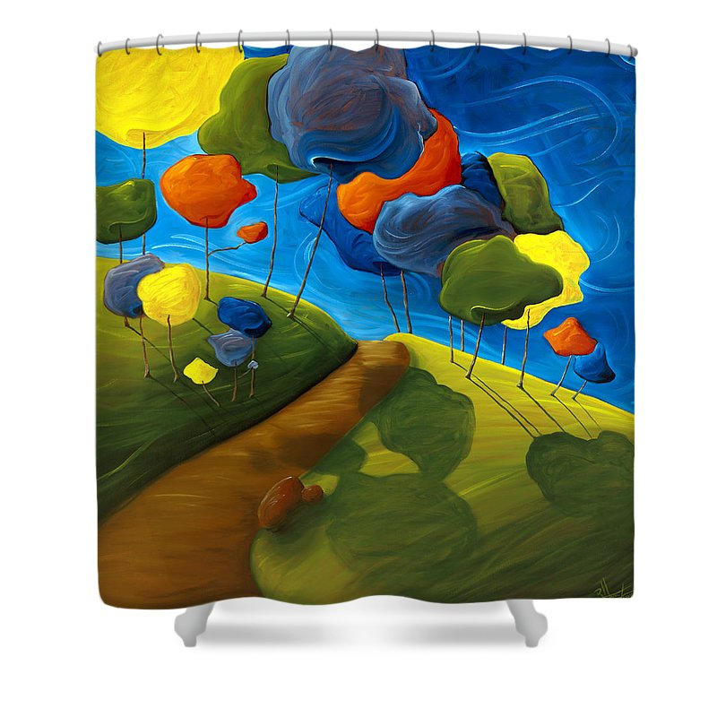 Landscape Shower Curtain featuring the painting Dancing Shadows by Richard Hoedl