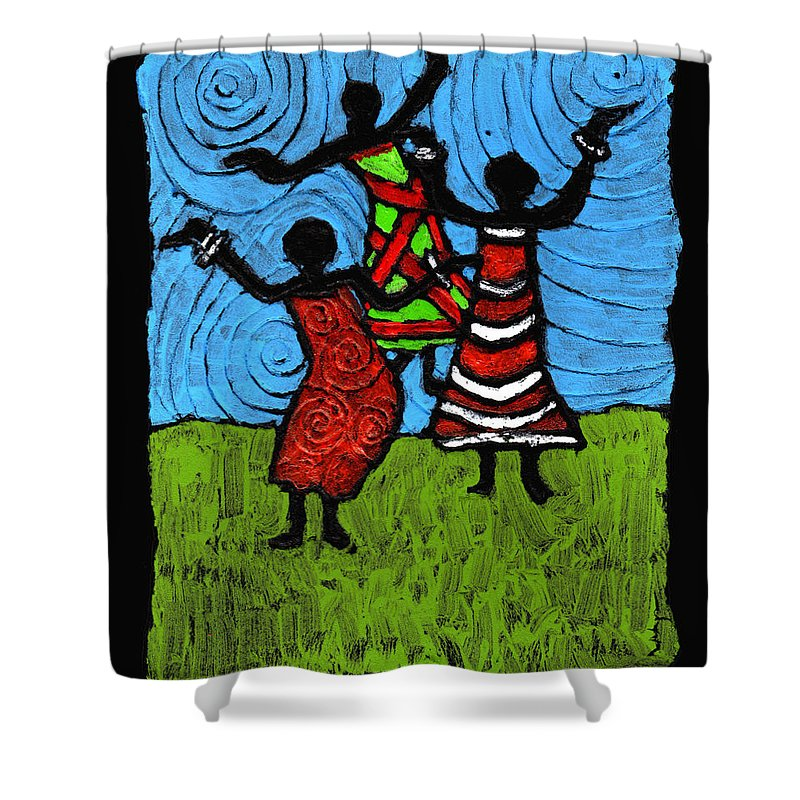 Black Art Shower Curtain featuring the painting Dancing So Good I Started To Fly by Wayne Potrafka