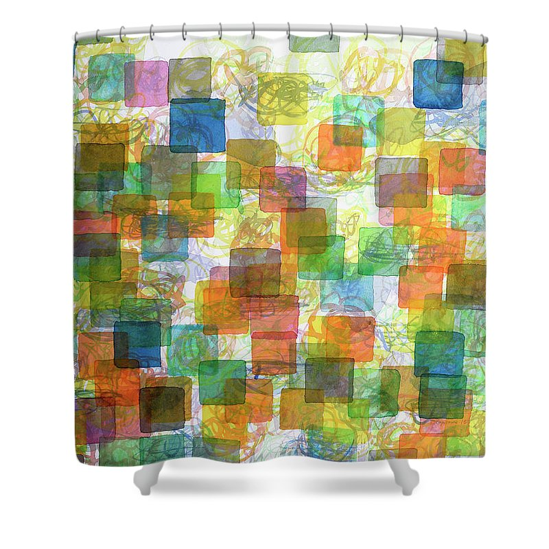 Square Shower Curtain featuring the painting Dancing Squares by Heidi Capitaine