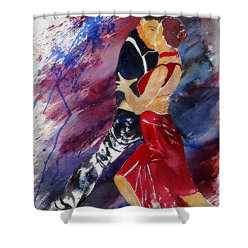 Tango Shower Curtain featuring the painting Dancing Tango by Pol Ledent