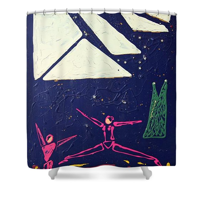 Dancers Shower Curtain featuring the mixed media Dancing Under The Starry Skies by J R Seymour