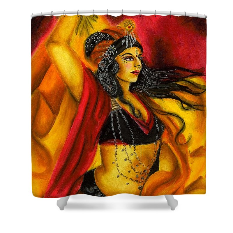 Belly Dancer Shower Curtain featuring the drawing Dancing with Fire by Scarlett Royal