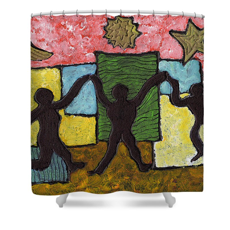 Dancing Shower Curtain featuring the painting Dancing With The Stars...and The Sun And The Moon by Wayne Potrafka