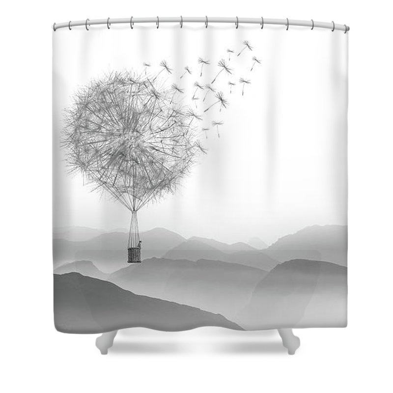 Black And White Dandelion Shower Curtain Featuring The Drawing Floral Mountain Adventure