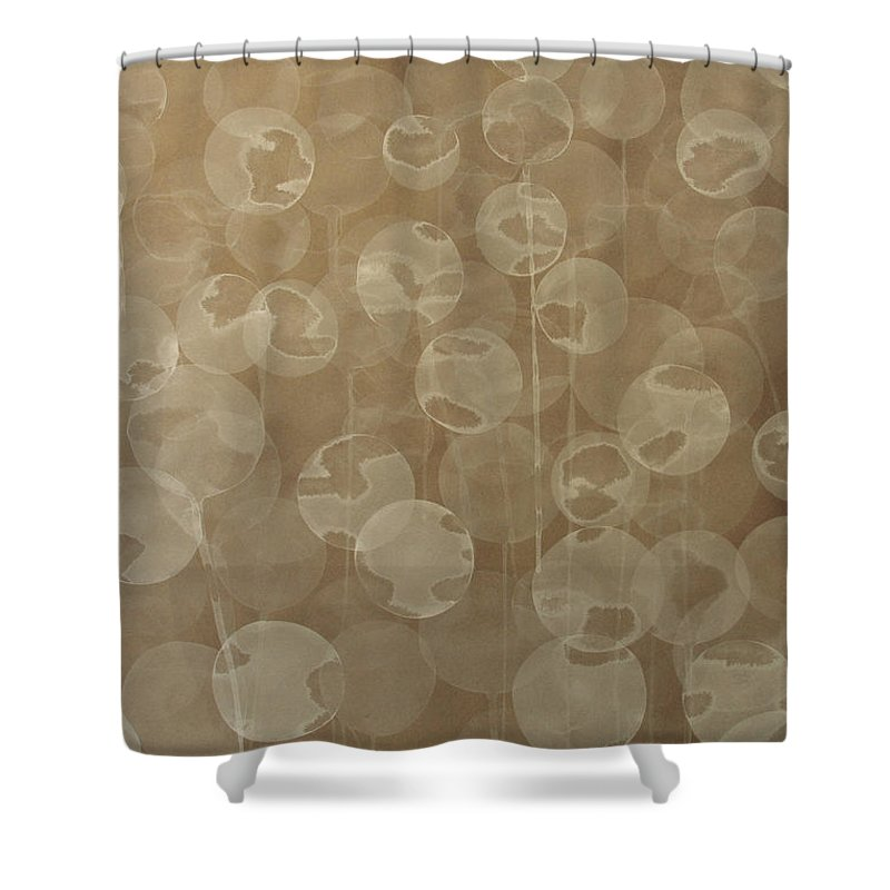 Abstract Shower Curtain featuring the painting Dandelion by Jitka Anlaufova