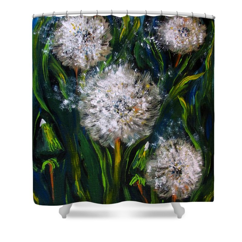 Flower Art Shower Curtain featuring the painting Dandelions Acrylic Painting by Natalja Picugina