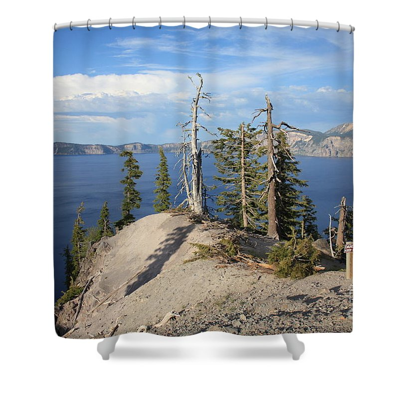 Crater Lake Shower Curtain featuring the photograph Dangerous Slope At Crater Lake by Carol Groenen