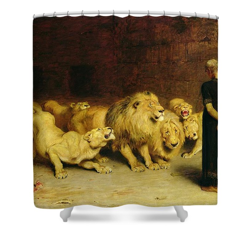 Daniel In The Lions' Den Shower Curtain featuring the painting Daniel In The Lions Den by Briton Riviere