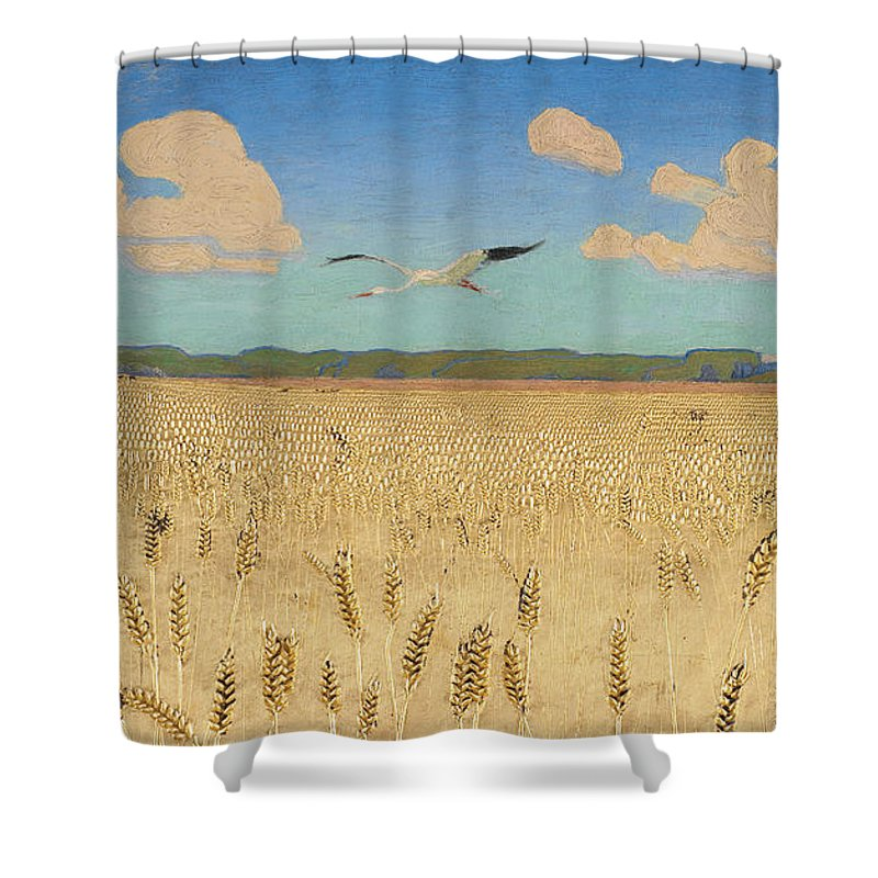 Harald Slott Moller Shower Curtain Featuring The Painting Danish Landscape By