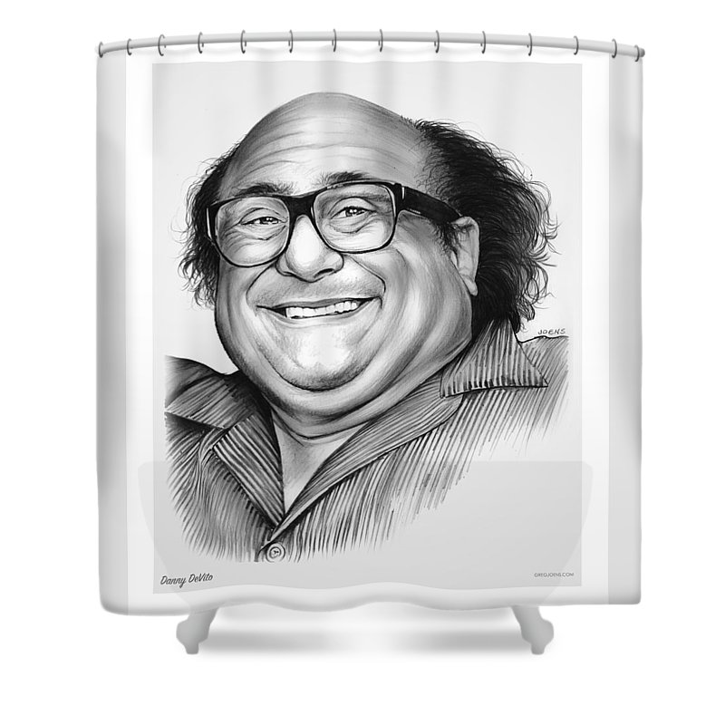 Dannydevito Shower Curtain featuring the drawing Danny DeVito by Greg Joens