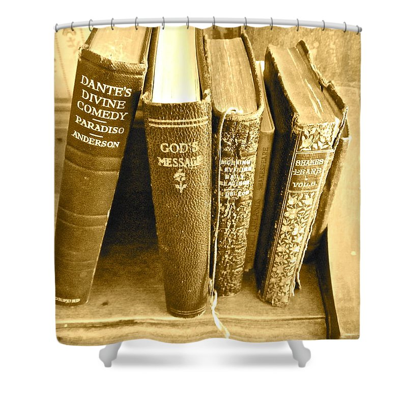 Photograph Of Old Books Shower Curtain featuring the photograph Dante God And Shakespeare ... by Gwyn Newcombe