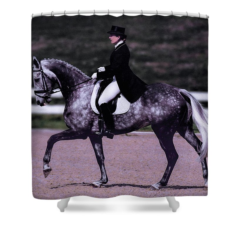 Dapple Shower Curtain featuring the photograph Dapple Grey Dressage by Rebecca Snyder