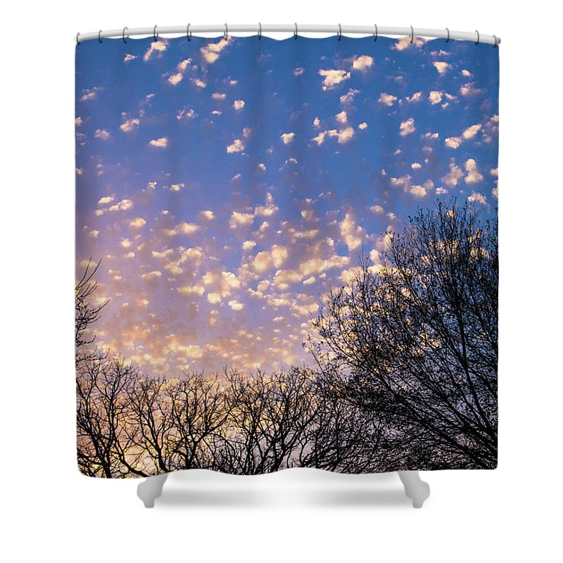 Sunset Shower Curtain featuring the photograph Dappled Sunset-1545 by Oonabot Photography