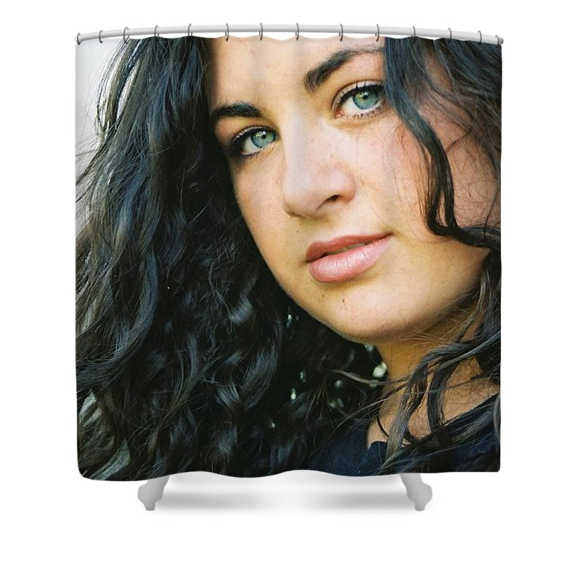Blue Eyes Shower Curtain featuring the photograph Dark Beauty by Nadine Rippelmeyer