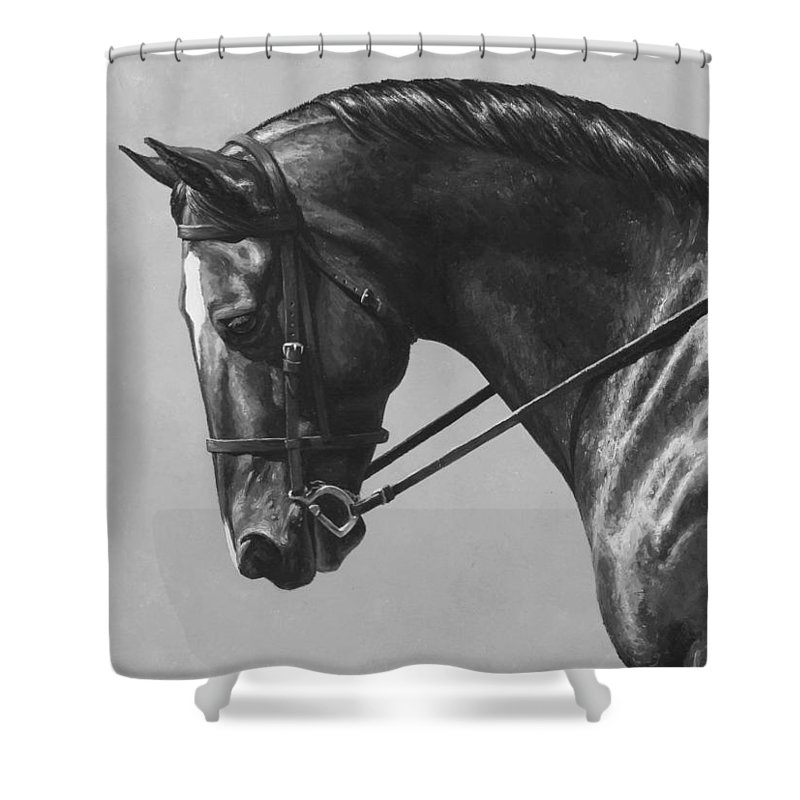 Horse Shower Curtain Featuring The Painting Dark Brown Dressage Black And White By Crista Forest