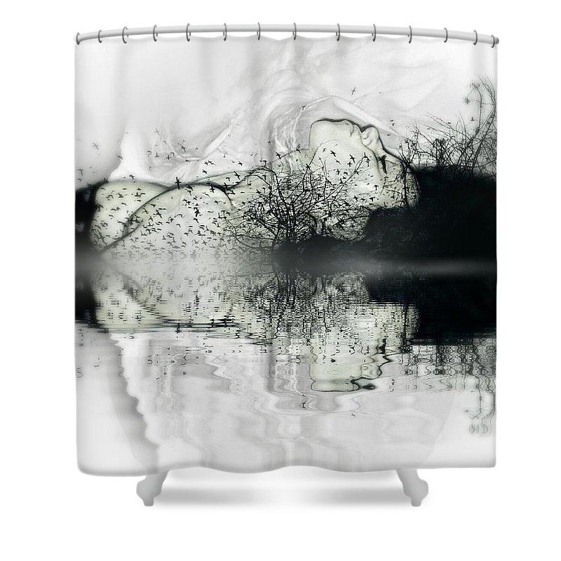 Black Shower Curtain featuring the digital art Dark Dreams by Maria Drefahl