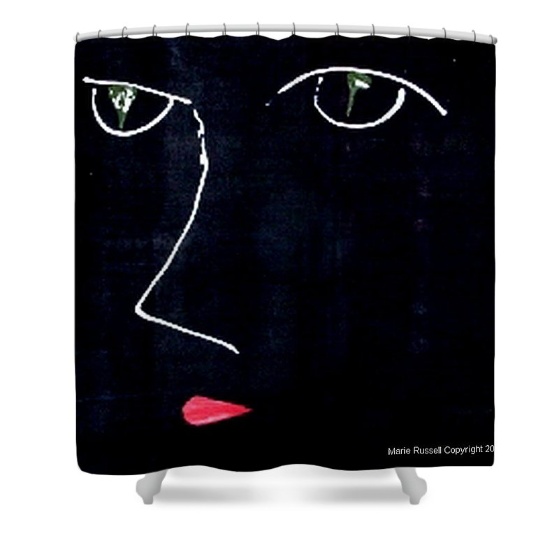 Black Shower Curtain featuring the painting Dark Eyes by Marie Russell