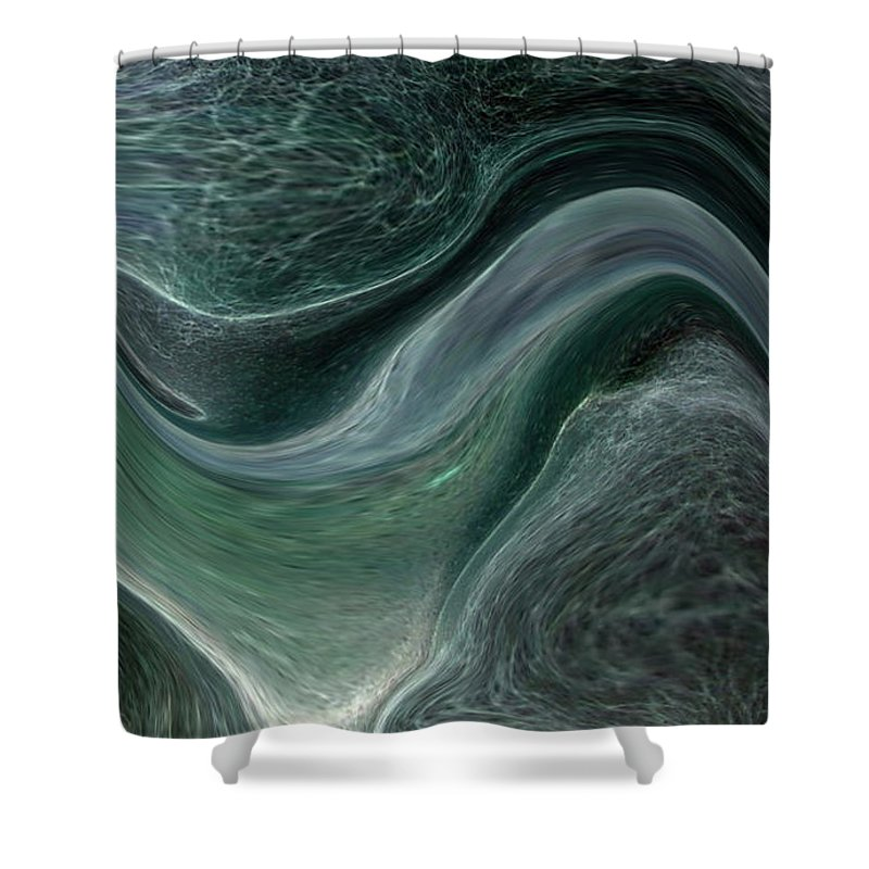 Abstract Shower Curtain featuring the photograph Dark Green Flow by Allan Hughes