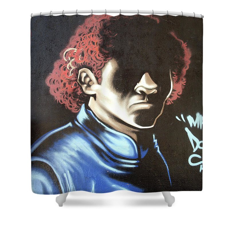 Graffiti Shower Curtain featuring the painting Dark Man by Roger Muntes
